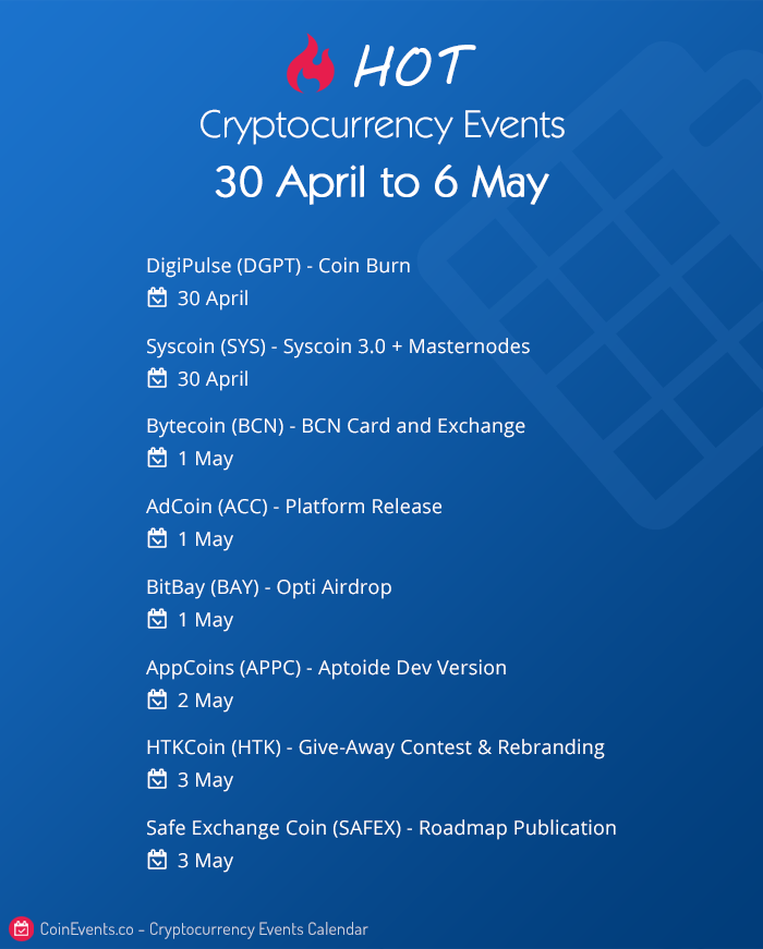 crypto events 30 april to 6 may